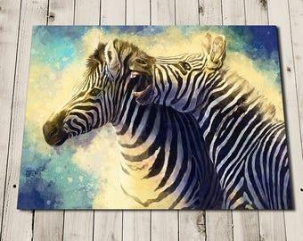 Zebra Painting Art Print - Safari Wall Art - Colourful Animal Pictures - Safari Animal - Savannah - Zebra Art - Zebra Print - Zebra Wall Art