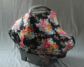 Slouchy car seat/nursing cover - floral & black