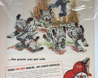 Vintage 1955 Texaco Downright Startling Puppies running from Scarecrow Print Ad