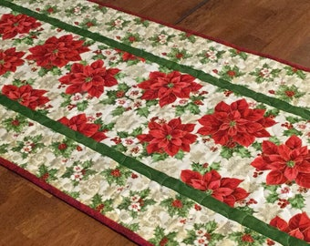 Quilted Poinsettia Table Runner, Christmas Table Runner, Red and Green Table Runner, Holiday Table Runner, Christmas Decor, Christmas Quilt