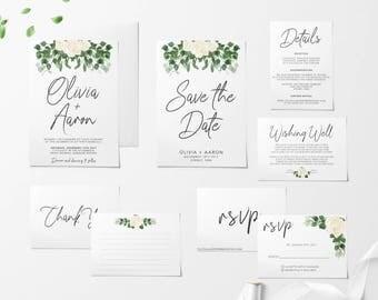 Printable Wedding Invitation Set, Floral Wedding Invitation Set, Wedding Invitations, Save The Date, RSVP, Wishing Well, Thank You