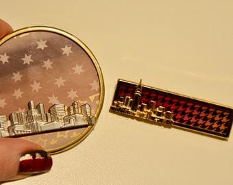 City Skyline Vintage Brooch Set Silver and Gold from Germany for Women and Men with stars