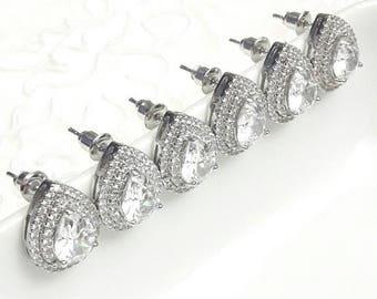 Bridesmaids earrings set of 3 pairs, Wedding pear cz earrings Crystal rhinestones earrings Bridesmaids CZ earrings studs Bridal jewelry