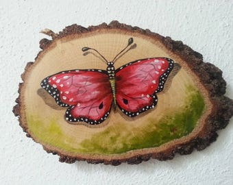 Red butterfly painting, original butterfly painting, butterfly painting, butterfly lovers gift, wood slice art, authentic decor
