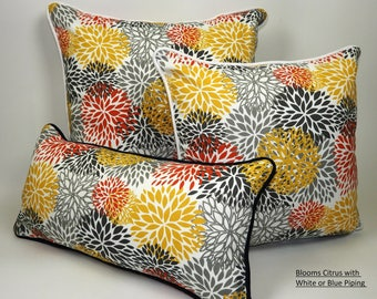 Blooms Pillow Collection with White or Blue Piping, White, Orange, Gray and Yellow colors,  Outdoor/Indoor, flawless,YKK zipper.