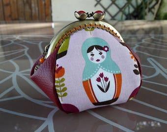 Vintage women purse original Russian/Matryoshka doll, and imitation leather plum fabric - gift idea