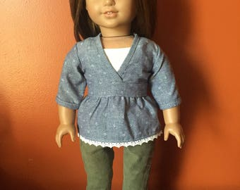 Outfit made to fit 18 inch dolls such as American Girl Dolls