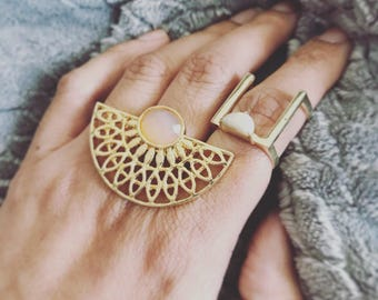 Clothing gift, Unique ring, Treat yo self, Girlfriend gift, Gift for her, Gift for women, Double finger Statement ring, Best friend gift