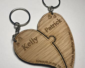 Personalised Heart Two Piece Valentines Wooden Keyring Love His & Her Christmas