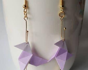 Pale purple cranes origami earrings