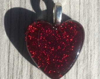 Dichroic Fused Glass Pendant - Red Heart  Pendant