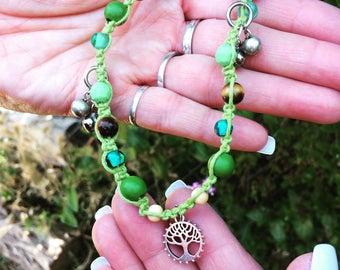 Tree of life beaded green hemp anklet