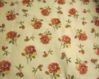 Marcus Brothers Fabric Off White Background Roses  BY THE YARD  Dainty  Antique Look Golden Tones  !!