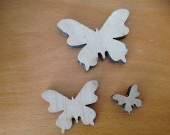 set of 3 carved wood Butterfly