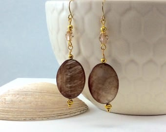 Crystal Coffee Shell Drop Earring with Yellow Gold Accents with 18kt gold wires