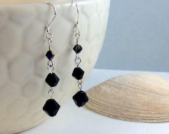 Black Swarovski Crystal  Drop/Dangle Earrings with .925 Silver Wires
