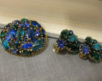 Gorgeous Blue & Green Austrian Crystal Brooch and Clip-On Earrings Set
