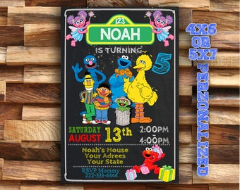 Sesame Street Invitation - Sesame Street Birthday Invitation - Sesame Street Party Invitation - Sesame Street Printable Invitation