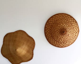 2 hats Asian wicker and woven bamboo