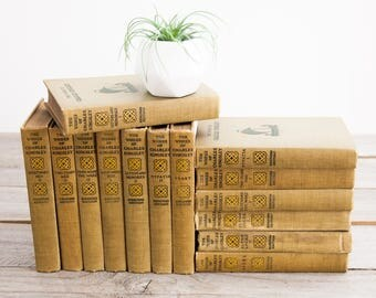 Old Yellow Book Set, Works of Charles Kingsley, Bideford Edition, Old Decorative Books, Book Gifts, Rare Books, Shabby Chic Decor, Old Books