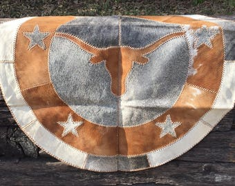 40 Inch Longhorn Cowhide Patchwork Area Rug, Handmade + FREE SHIPPING