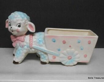 Antique Relpo Lamb & Cart Ceramic Planter