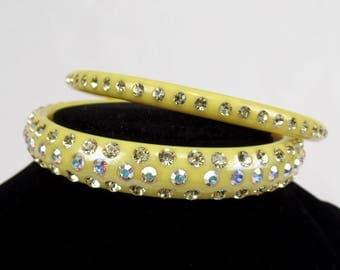 Vintage Bangle Bracelet Set Yellow Lucite AB Aurora Borealis Rhinestone Jewelry