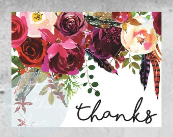 Floral Thank You Card Digital Download // Thank You Card // Downloadable // Printable // Instant Download