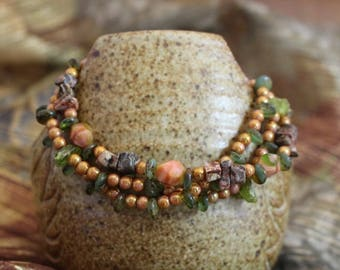 Viking inspired triple strand bracelet,Czech glass pink,olivine,silk nugget, jasper and peridot chips,gold lobster clasp,B160