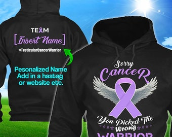 Personalized Testicular Cancer Awareness Hoodie Orchid  Ribbon Warrior Men Women Kid Youth Custom Unisex Pullover Gift Winter Cloth