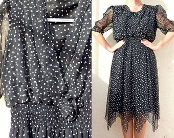 French vintage 1980's dress Cardigan dress black Polka dot midi polka dots dress long dress Polka dot wrap dress Black and white dress