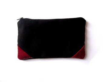 Purse fabric black and red leather