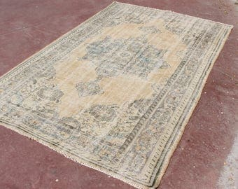 free ship rug,8'8''x5'7''overdyed rug,vintage beige rug,anatolian oushak rug,faded rug,pastel wool rug,nomadic livingroom rug,stripe rug