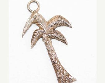 "Vintage Sterling Silver Bracelet Charm Pendant Palm Tree 1"" Long"