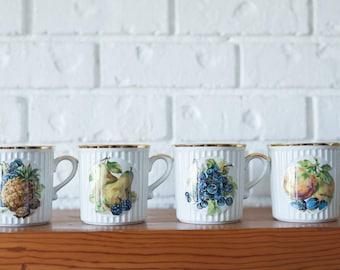 Vintage Czechoslovakia Porcelain Fruit Pineapple Blueberry Peach Pear Mug Set