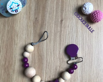 Natural wood and purple pacifier clip