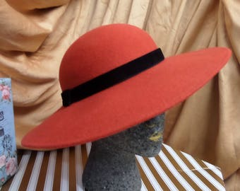 Vintage Red 100% Wool Felt Hat Wide Brim