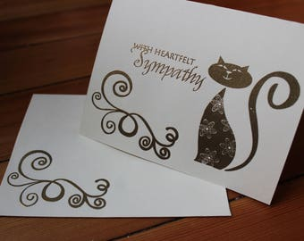 Cat Sympathy Set of 10 - Heat Embossed Gold on Ivory Paper, Blank Inside