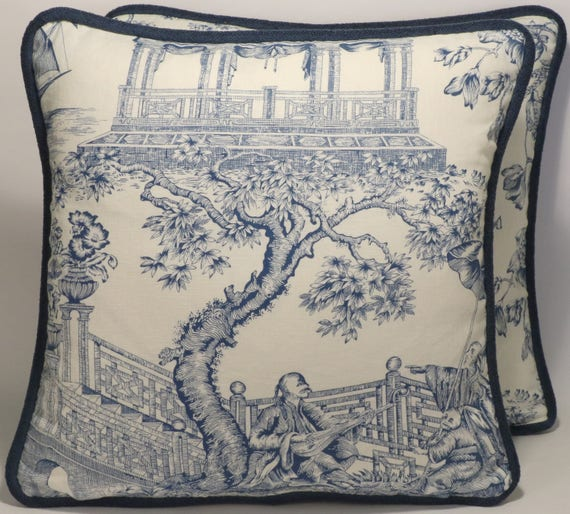 Toile throw pillows chinoiserie pillows decorative pillows - Toile decorative murale ...
