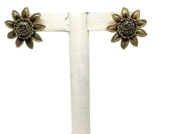 Flower Earrings 1950s Clip On Earrings