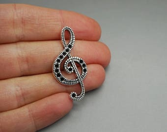 SET of 10 charms music note treble clef Silver (F09)