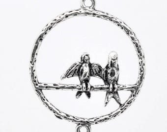Bird on perch (B64) silver colored connector charm