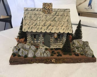 Diorama in the forest with deer
