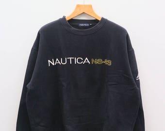 Vintage NAUTICA NS-83 Big Spell Outdoor Product Black Sweater Sweatshirt Size XL