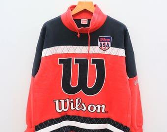 Vintage WILSON USA Sportswear Big Logo Red Sweater Sweatshirt