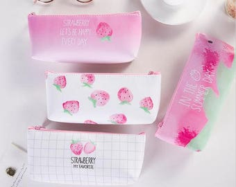 Sweet Strawberry Pencil Bag ~ Kawaii Cute Pencil Case, Novelty Pencil Bag, Girls Bag, Stationery, School supplies, Organizer Silicone Bag