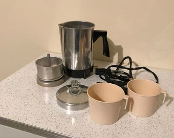 Vintage Electric Coffee Percolator with Cups