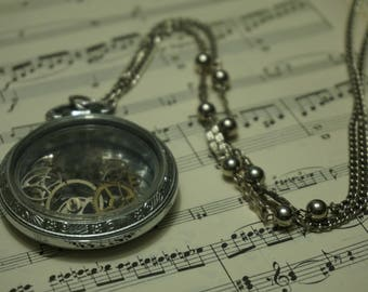 Steampunk Pocket Watch Pendant, gears, silver, jewelry