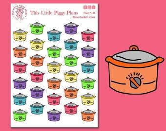 Slow Cooker Planner Stickers - Crockpot Planner Stickers - Slow Cooker Icons - Crockpot Icons - Food Stickers - Meal Plan - [Food 1-15]