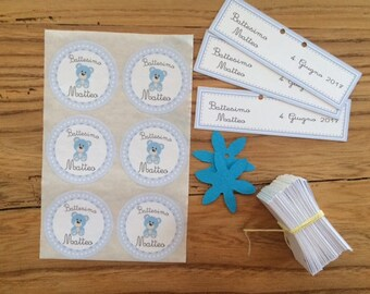 Teddy bear Christening labels-set of 15 pieces